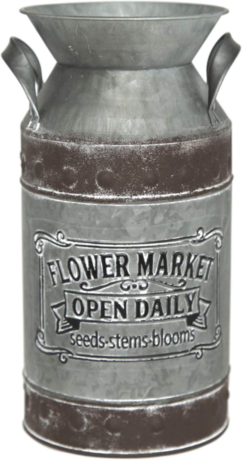 Putuo Decor Rustic Galvanized Milk Can, Vintage Flower Vase, Primitive Country Farmhouse Home Decor, 5