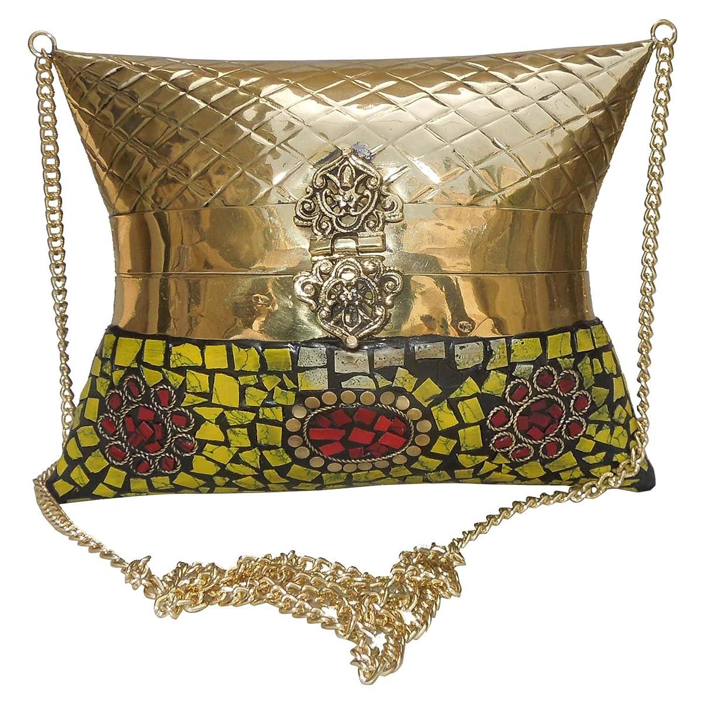 Spice Art Embossed Handmade Metallic Brass Clutch in Golden