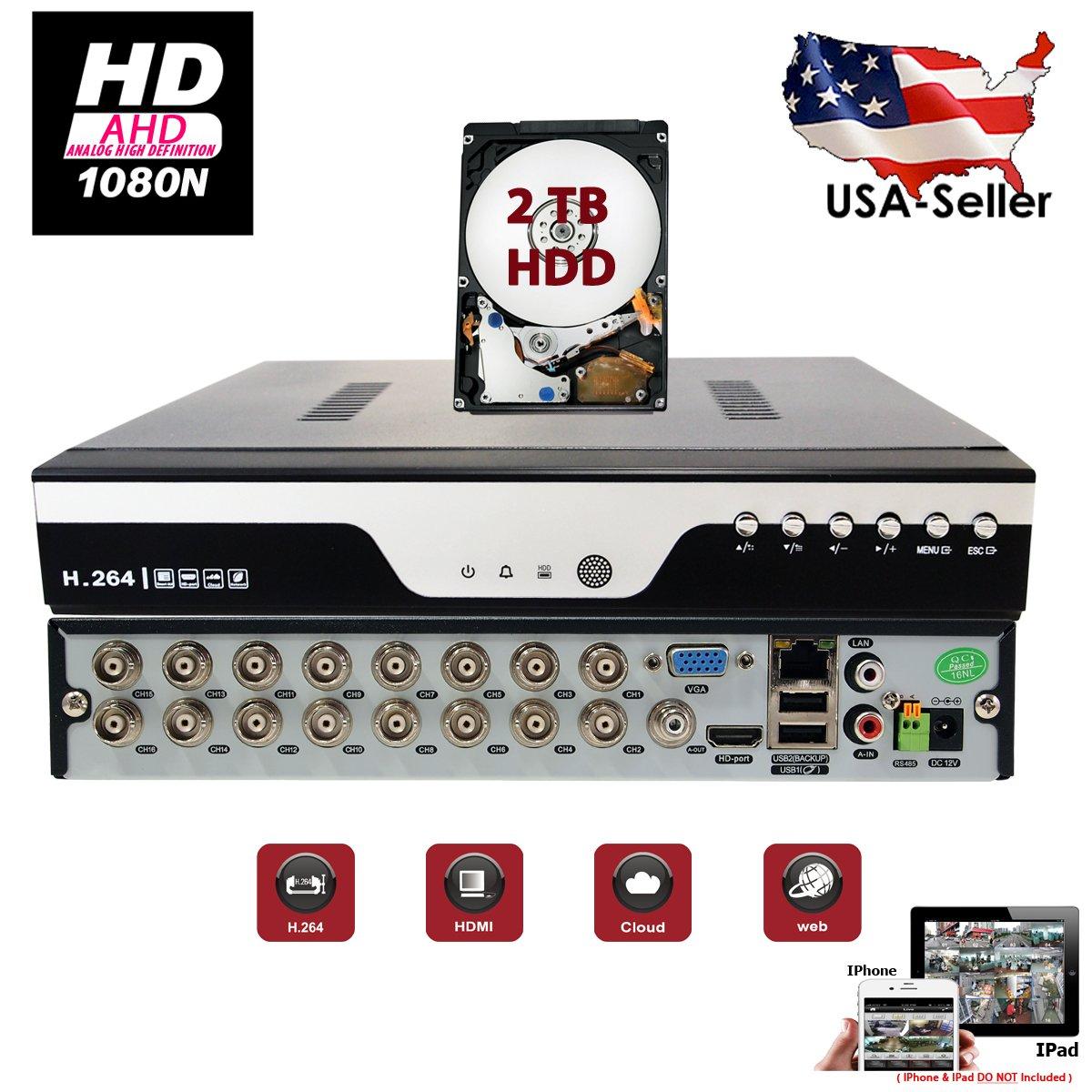 Evertech 16 Channel HD 1080N AHD Analog High Definition DVR HDMI Cloud + 2TB HDD Installed Security Surveillance System