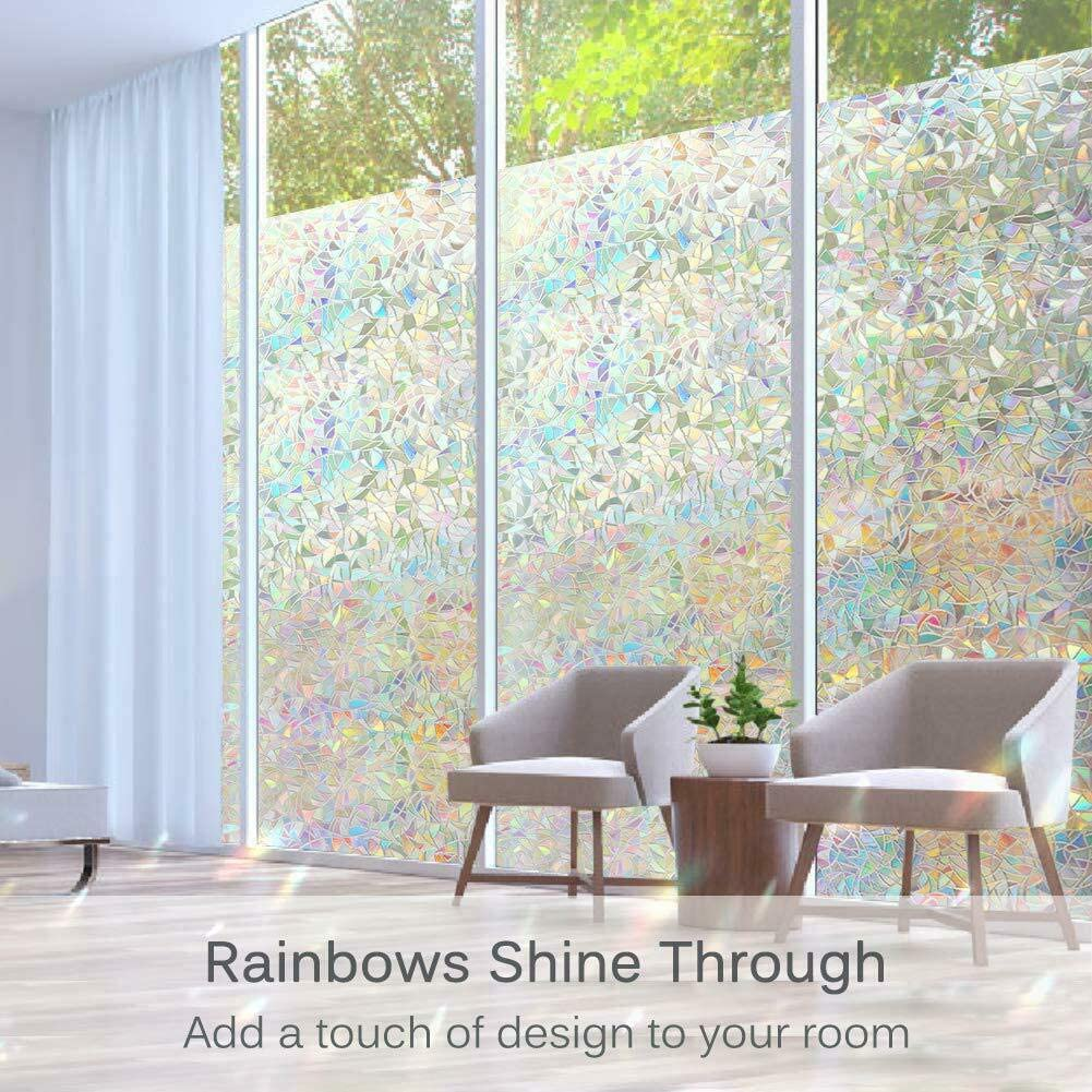 Cascabar Window Stickers Glue-free Static Decoration UV-resistant Glass Sticker Privacy Window Self-adhesive Film Stained Glass Rainbow Film