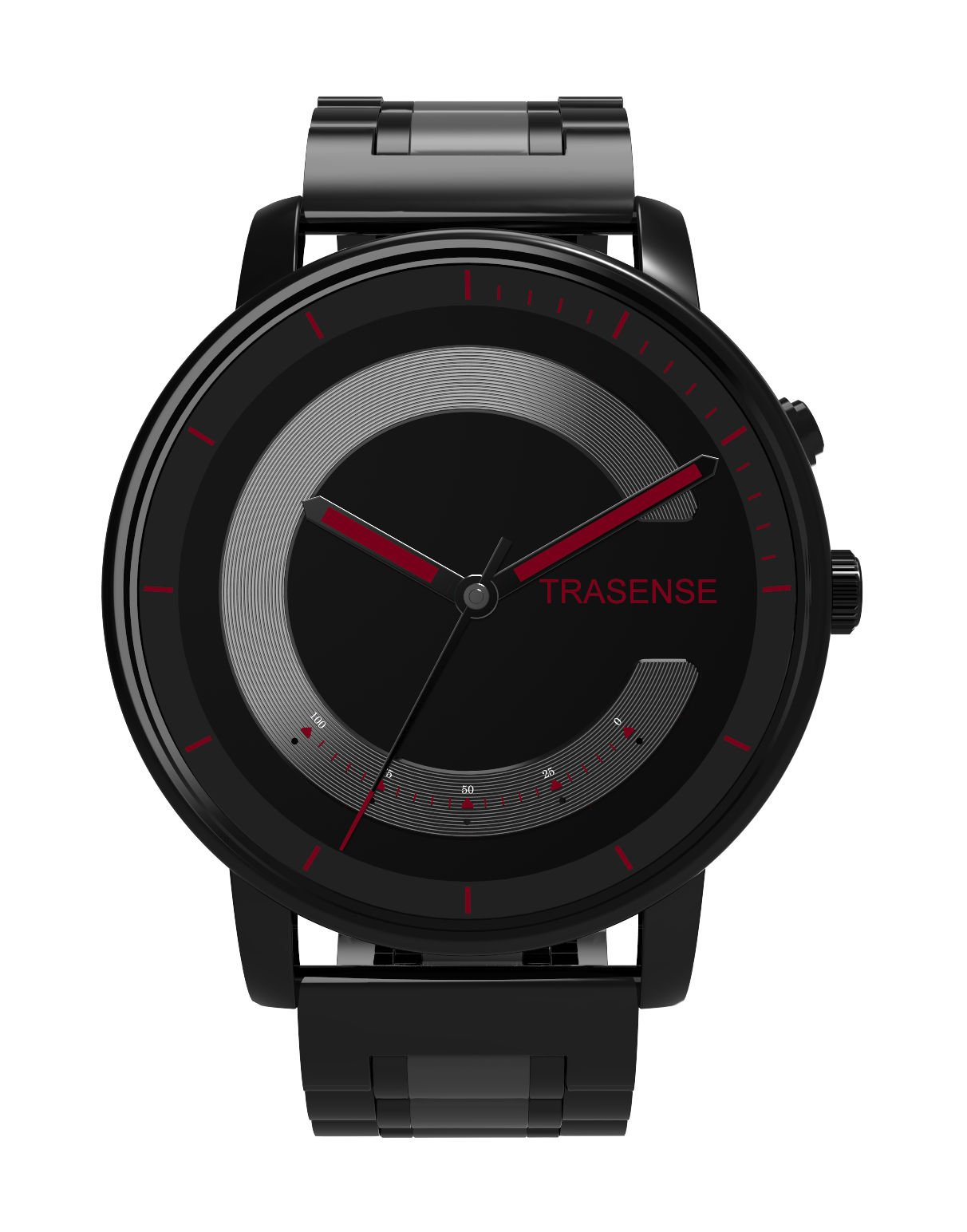 Trasense Hybrid Smartwatch with Stainless Steel Strap for IOS and Android Phone (Red Dial Stainless Steel Strap) by Trasense