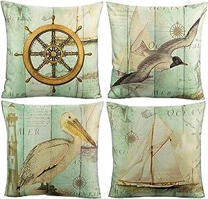 VAKADO Nautical Throw Pillow Covers Ocean Vintage Seagull Seabird Sea Boat Rudder Wood Coastal Home Decor Sea Animals Outdoor Cushion Cases for Livingroom Dorm Sofa Couch 18X18 Set of 4