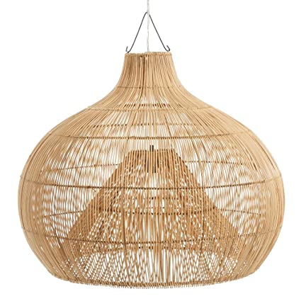 Lámpara Techo de Rattan Beige Oriental para salón Sol ...