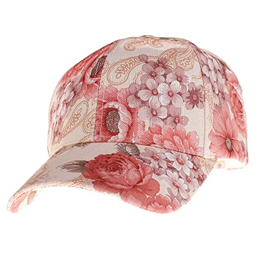 c370f4d06 Yucode Women Summer Ponytail Baseball Cap Messy Bun Floral Print Hat ...