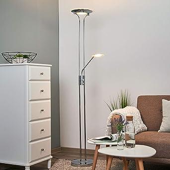 Stehlampe LED dimmbar Stehleuchte Wohnzimmer Standlampe Silber Chrom Leseleuchte