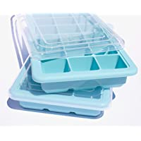 EssentialEarth Home Ice Cube Trays Silicone with Lids - 2 Flexible Ice Trays - Ice Cube Molds for Chilled Drinks, Whiskey & Cocktails - Stackable Covered Mold Tray, Dishwasher Safe, BPA Free