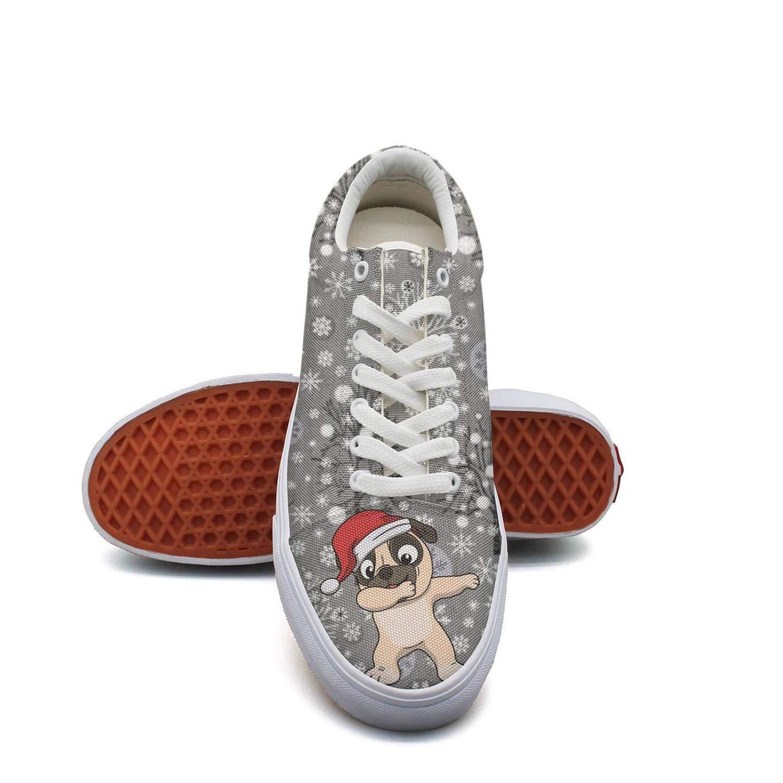 Pheomg Young Women Cute Santa Pug Dabbing Christmas Nursing Casual Slip-on Canvas Shoes Cute Casual Shoes
