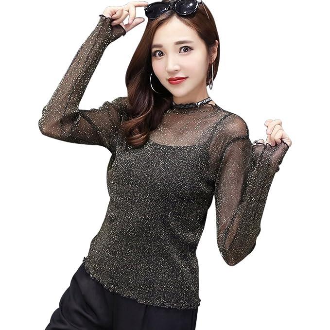 XFentech Elegante Blusas Transparentes Sexys de Fiesta Noche de Manga Larga Mujer , Negro 1 ,
