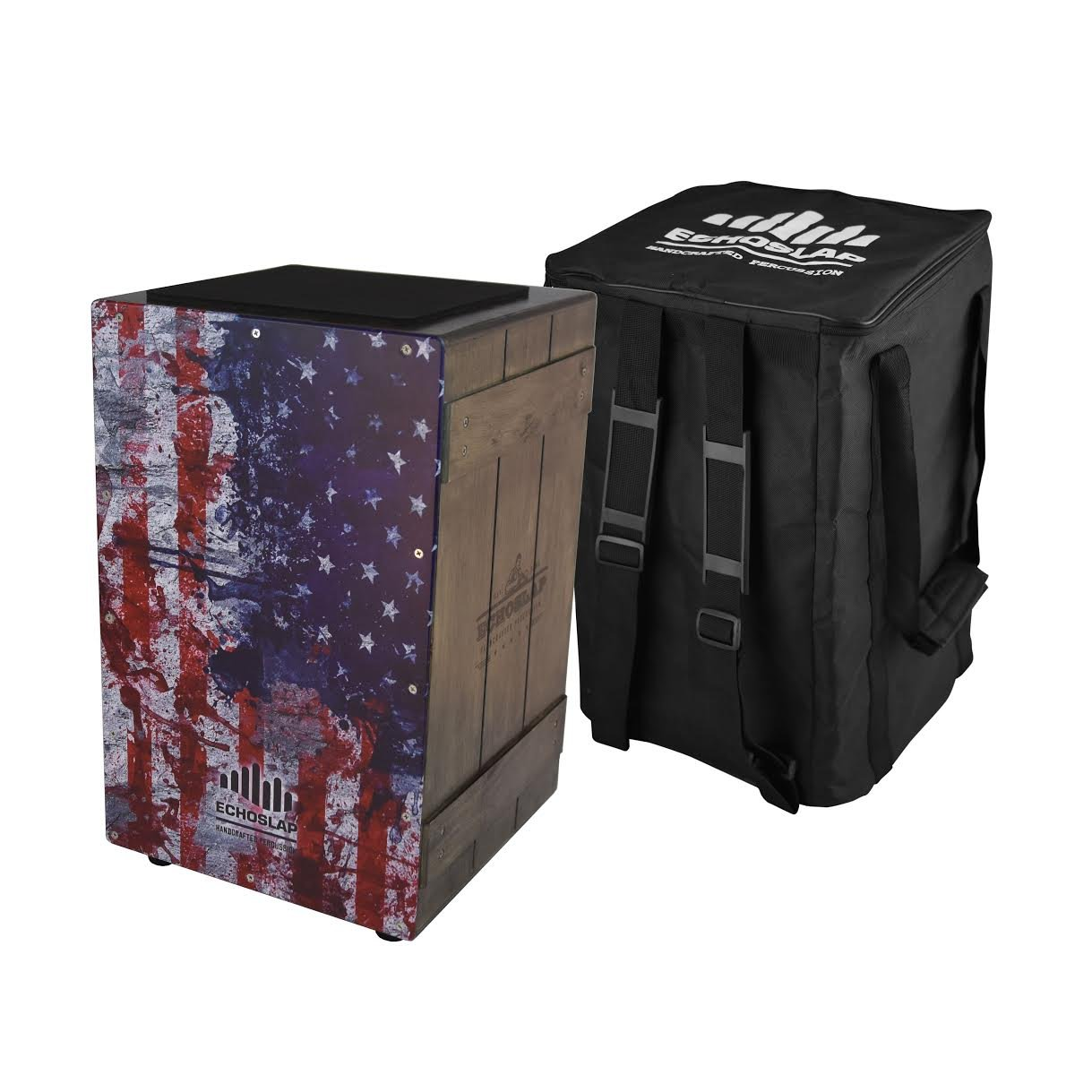 Echoslap Vintage Crate Cajon -Vintage American Flag, Hand Crafted, Siam Oak Body, Plus Gig Back by Echoslap Percussion