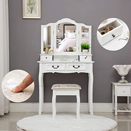 Amazon Com Unihome Makeup Vanity Table With Mirror White Dressing