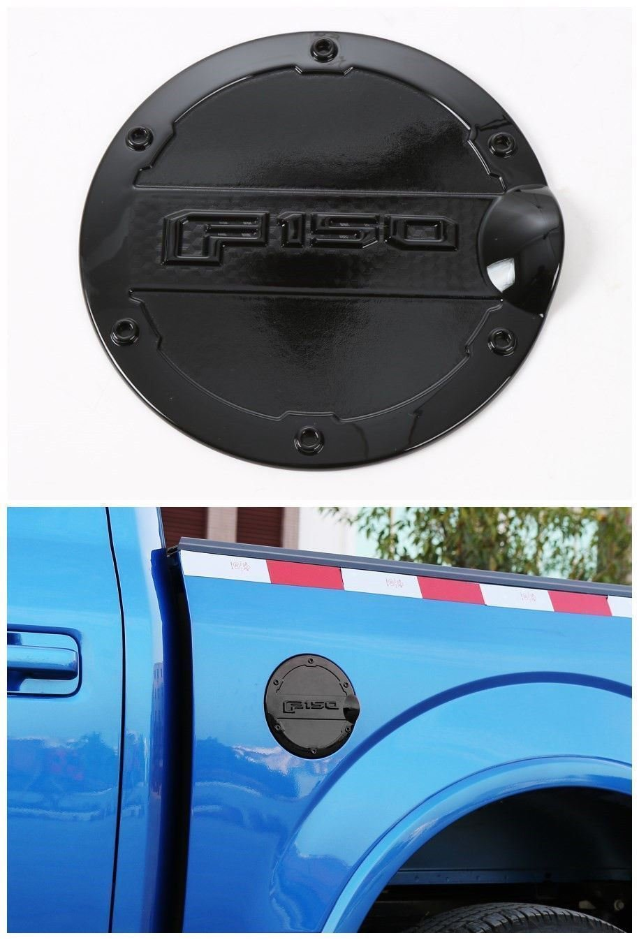 Bestmotoring for Ford F150 Gas Tank Cap Fuel Filler Cover Cover Trim for Ford F150 F 150 2015 2016 Black 1pc
