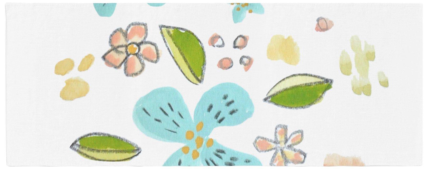 Kess InHouse JR1030ABR01 Jennifer Rizzo Happy Flower Dance Blue Green Floral Bed Runner, 34'' x 86''