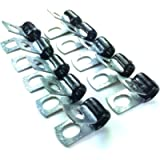 Brake Line Clip Set for 3/16' tube. Pack of 10. Steel with Rubber Insulation