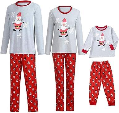 POLP niño Navidad Santa Claus Ropa niñas Unisex casa Pijama Bebe Navidad Regalo Manga Larga Camiseta Tops a Rayas Pantalones Padres e Hijos Niño Madre e Hijo 2pc Rojo Camisa Sudadera: Amazon.es: