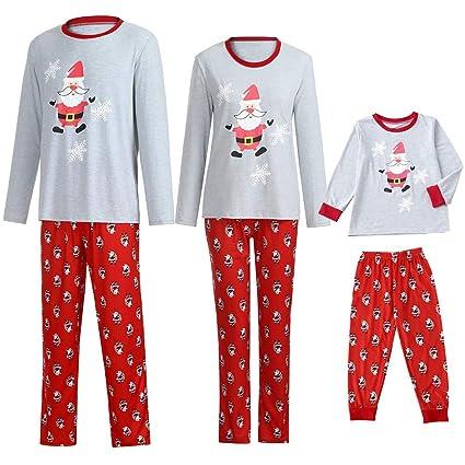 YunZyun 2 Piece Women Men Kids Toddler Christmas Stripe Plaid Pajama Sets  Jammies Matching Family Winter b2f589a35