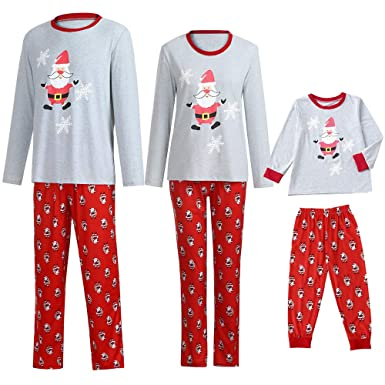 327c5ba04f Amazon.com  Kehen Family Christmas Pajamas Set Ugly Santa Claus Print  Matching Pj Long Sleeve Sleepwear Clothes for Whole Family  Clothing