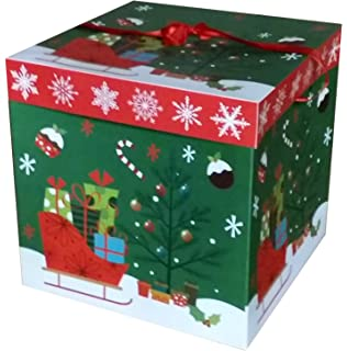Large Premium Christmas Eve Gift Box Lid Ribbon Handles Xmas