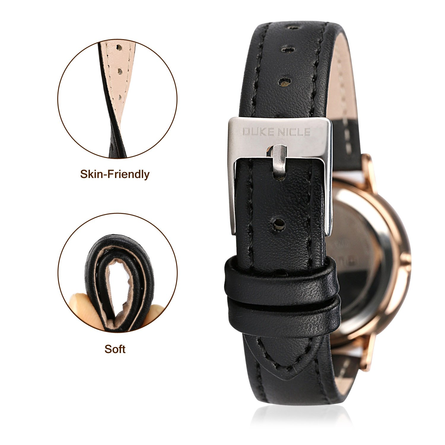 Amazon.com: Womens Fashion Watch,Ladies Elegant Waterproof Quartz Rose Gold Case Roman Numeral Casual Wrist Watches for Girls with Soft Genuine Leather Band ...