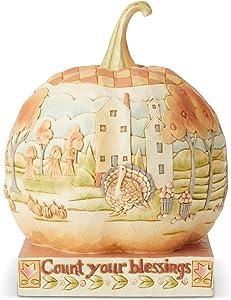 Enesco Jim Shore Heartwood Creek Autumn Pumpkin with Scene Figurine, 7.3 Inch, Multicolor,6004322