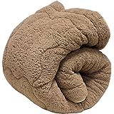 掛け布団 毛布布団 あったか三層構造 もこもこシープボア毛布布団 シングルロング 送料無料 吸湿発熱繊維 毛布布団 もうふ布団 (カーキ色)