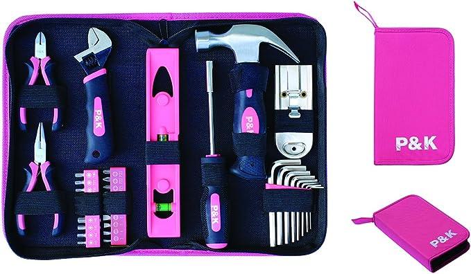 Set de herramientas de 35 piezas en estuche, color rosa: Amazon.es: Bricolaje y herramientas