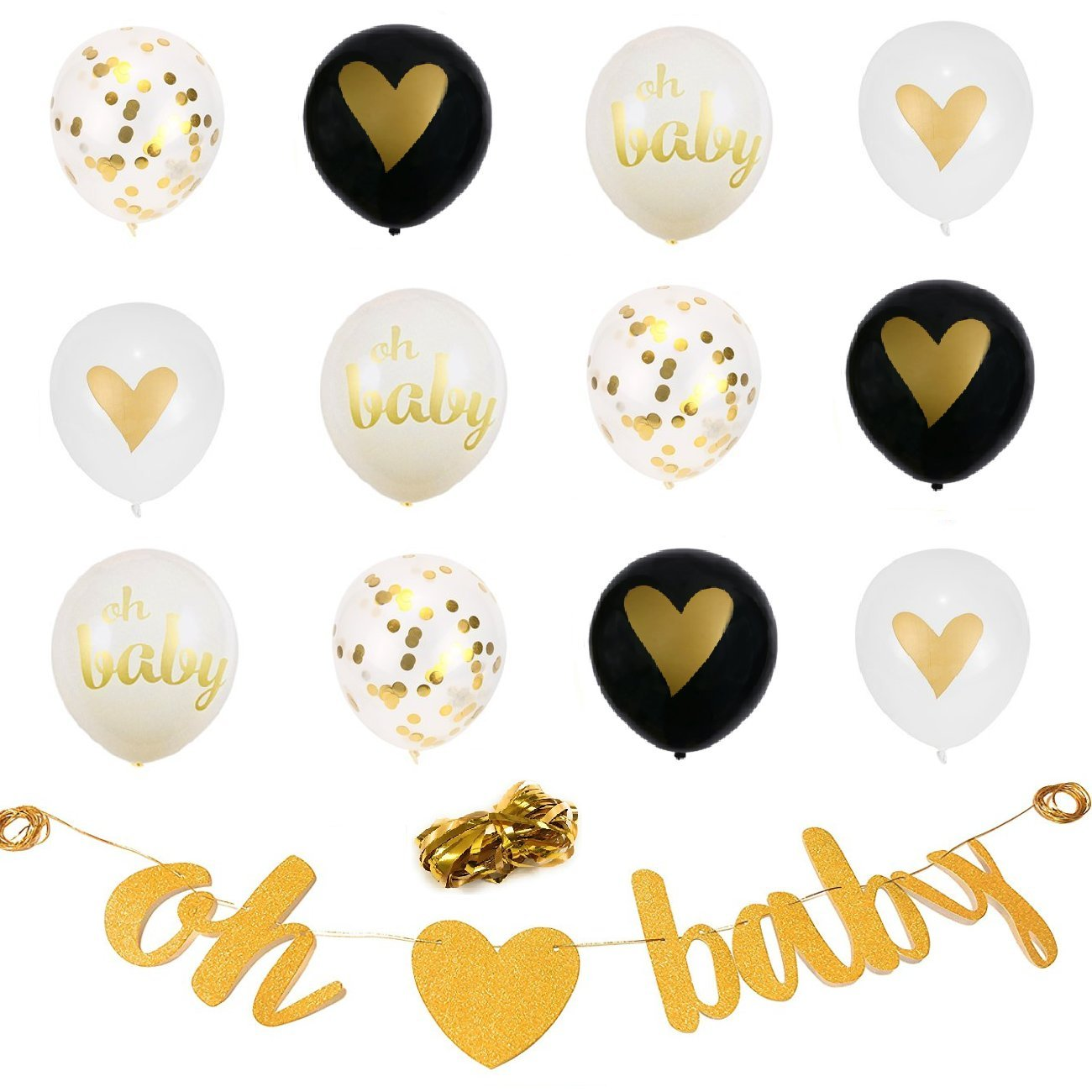 XERITA Gold Baby Shower Decorations Neutral - Large Banner, Large 12 inch Latex Balloons, Ribbons - Party Kit for Gender Reveal Party - Gender Neutral (Gold & Black)