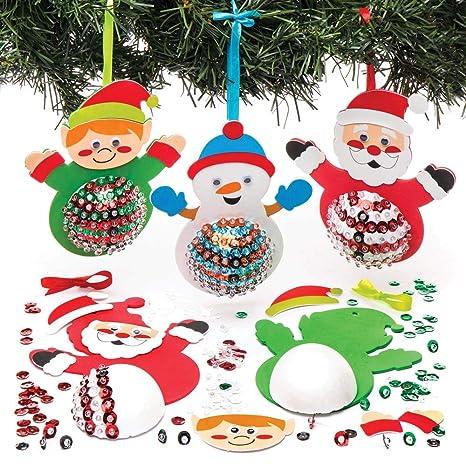 Lavoretti Di Natale Bambini 0 3 Anni.Baker Ross Kit Decorazioni Personaggi Natalizi E Paillettes Per