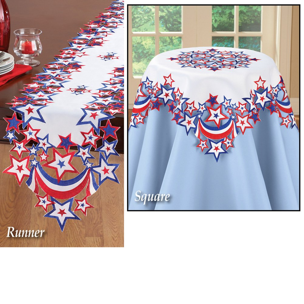 Collections 4th of July Indoor Decoration Table Linens with Embroidered Patriotic Stars, Square