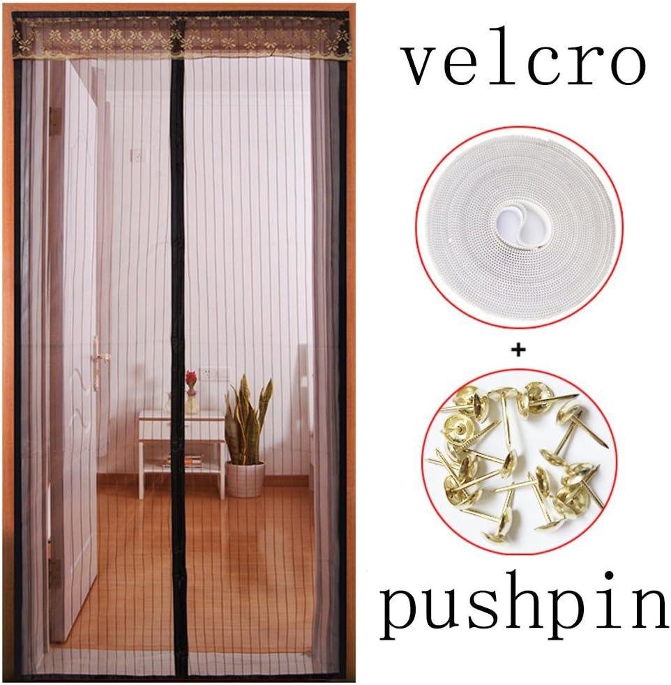 Cama con dosel con Puerta Velcro Puerta de pantalla,Magnética Autoadhesivo Transparente Para Inicio Dormitorio Jardín Desmontable-Q 120x240cm(47x94inch)