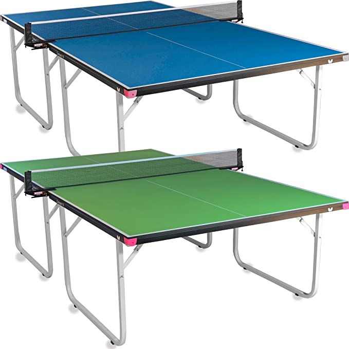Butterfly Compact 19 Ping Pong Table Foldable Table Tennis Table With Wheels Regulation Size Ping Pong Table With Detachable Net Included Ships Assembled Sports Outdoors