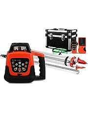 Guellin Nivel Láser Rotativo Verde/Rojo Nivel Láser Automático Laser Level Rayo Verde/Rojo con Impermeable Construcción (Rayo Verde con Trípode y Mira)