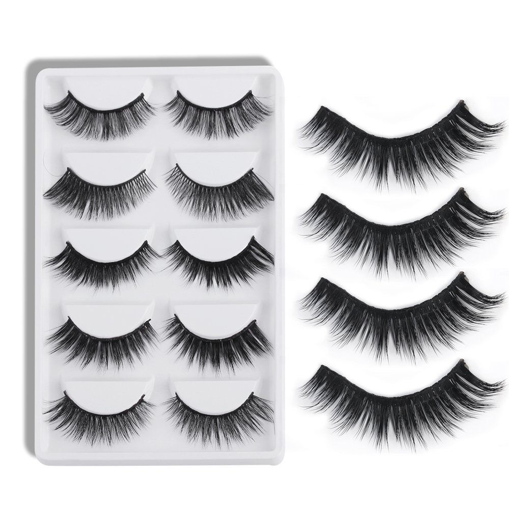 5 Pairs False Eyelashes Multipack Faux Hair Thick Long Fluffy Cross Eye Lashes Makeup Beauty Extension Tools TOPBeauty