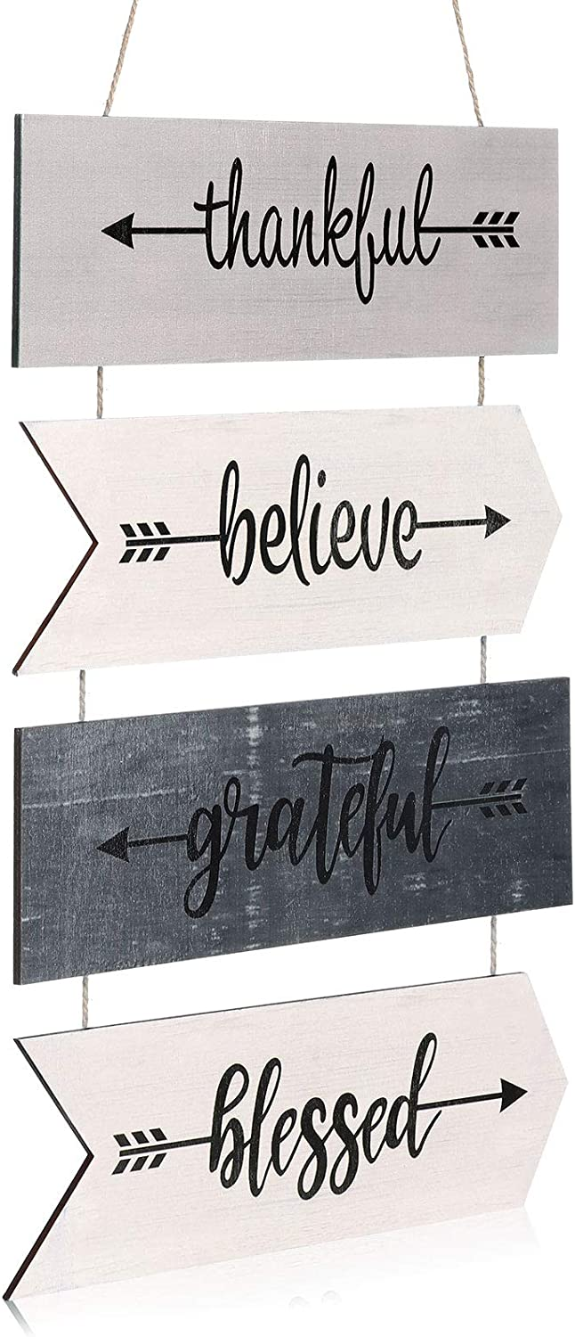 Jetec Hanging Wall Sign Rustic Wooden Arrow Wall Decoration Thankful Grateful Blessed Believe Sign Welcome Sign Wall Art for Farmhouse Home House Living Room Kitchen Decoration