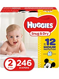 HUGGIES Snug & Dry Baby Diapers, Size 2 (fits 12-18 lbs.), 246 Count, ECONOMY PLUS (Packaging May Vary)