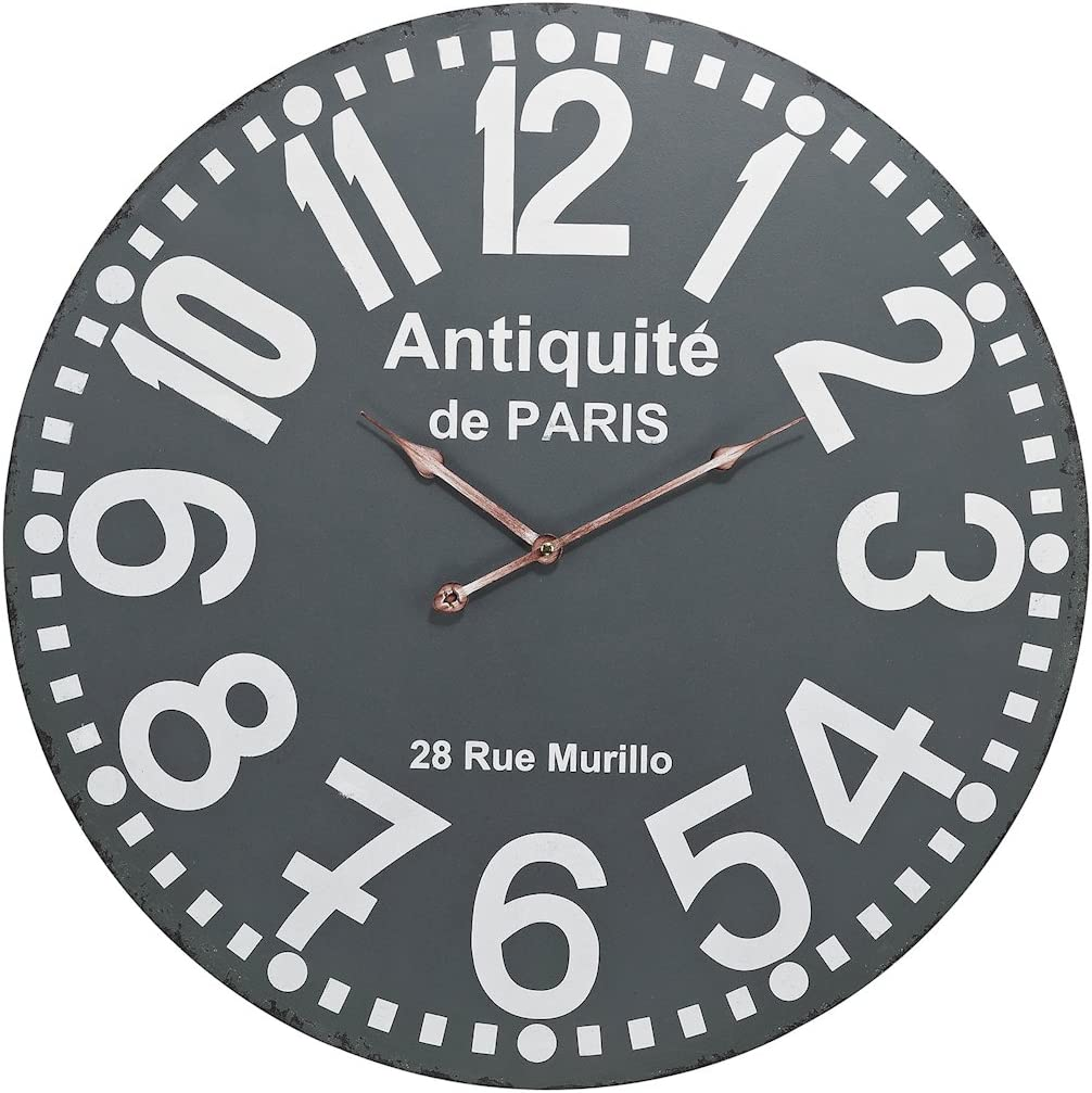 Elk Antiquite Wall Clock, Grey, White