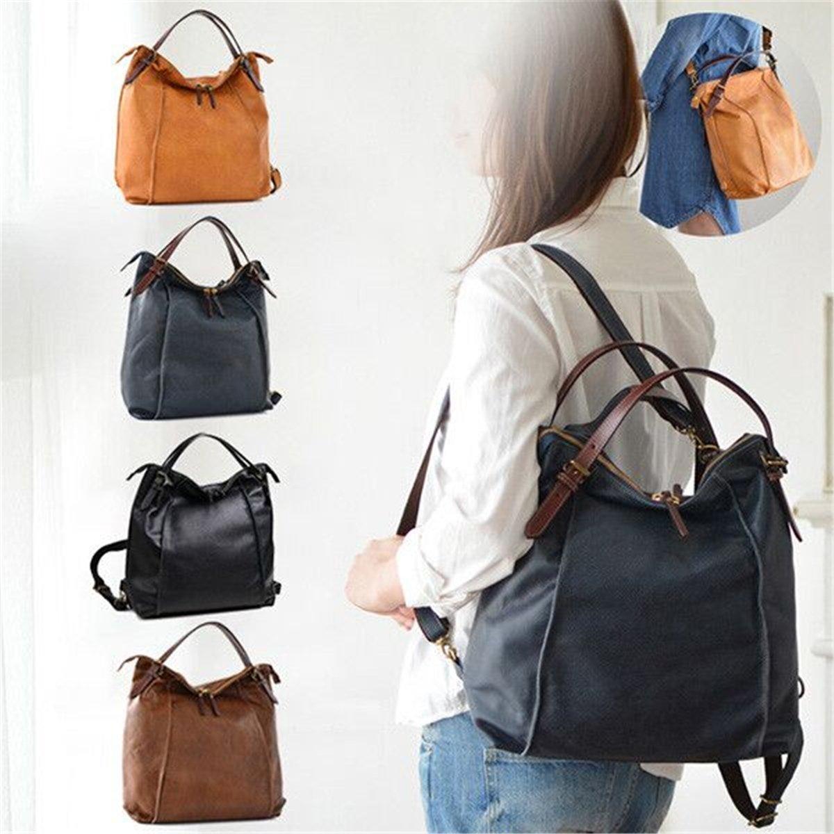 Brenice Cowhide Tote Handbags Vintage Multifuntion Backpack Shoulder Bags BRENICEUSRnal1942