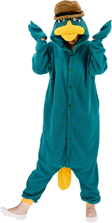 Adult Platypus Onesie Pajamas Cosplay Animal Homewear Sleepwear Jumpsuit Costume for Women Men