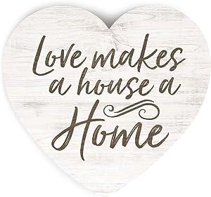 P. Graham Dunn Love Makes A House A Home Heart Cream 3.5 x 3.25 Pine Wood Small Tabletop Plaque