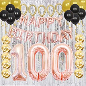 Happy 100th Birthday Banner Decorations as Gift for 100th Birthday Party Supplies -Rose Gold, 100 Number Balloons and Silver Metallic Foil Curtain as Backdrops and Party Favors