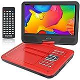 """WONNIE 10,5"""" Lecteur DVD Portable avec Un Écran Rotatif 270°, Carte SD et Prise USB avec Charge directe Formats/RMVB/AVI/MP3/JPEG, Parfait pour Enfants (Rouge)"""