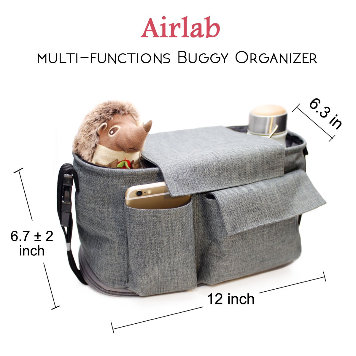 Airlab Stroller Organizer, Parents Organizer Bag, 2 inch Enlarge, Deep Bottle Cup Holder, Extra-Large Storage Space Fits Universal Stroller for Baby Accessories, Diapers, iPhone, Wallets, Waterproof by Airlab (Image #5)