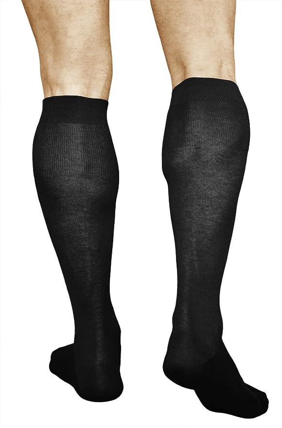 563b86d6bf0 vitsocks Chaussettes Genoux Homme 100% COTON (Lot de 2) Hautes Noires Fines  Respirantes  Amazon.fr  Vêtements et accessoires