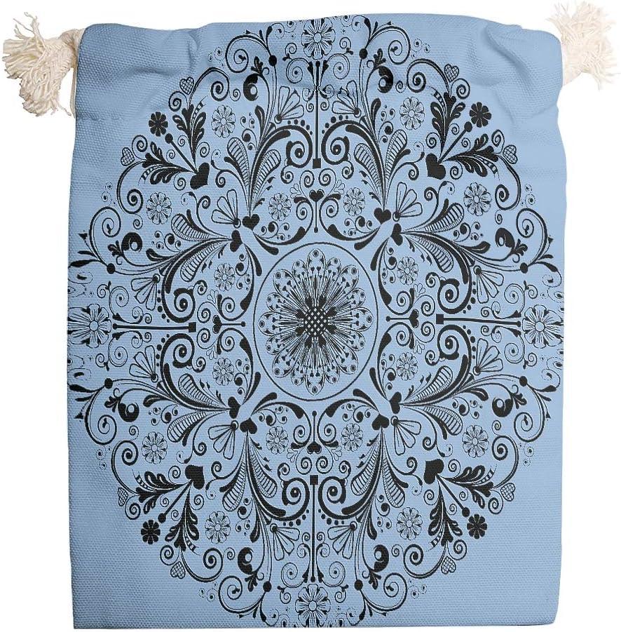 Knowikonwn - Bolsas de Lona para 6 Unidades, diseño de Mandala de Color Azul, Tela, Blanco, 12 * 18cm: Amazon.es: Equipaje