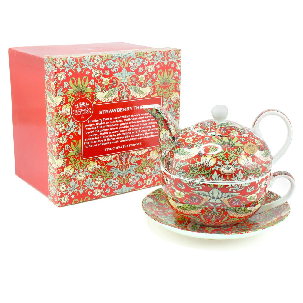 WIlliam Morris Red Strawberry Thief Tapestry Tea For One Teapot Cup & Saucer Lesser and Pavey