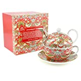 WIlliam Morris Red Strawberry Thief Tapestry Tea For One Teapot Cup & Saucer