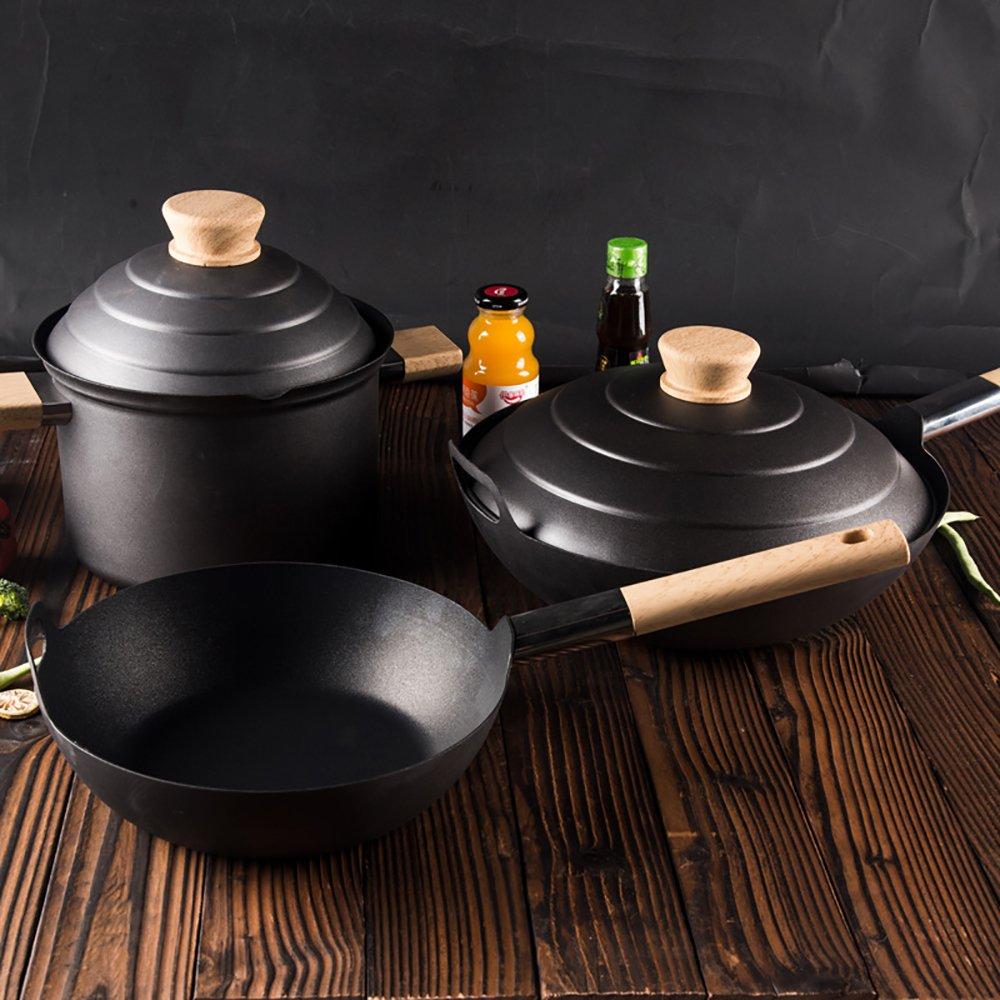 Cast Iron Cookwareセット木製ハンドル(3点セット)ラウンドフラットフライパン10.5インチ/ラウンドWok 13.5インチ/シチューポット9.5インチ   B07FM7VNYV