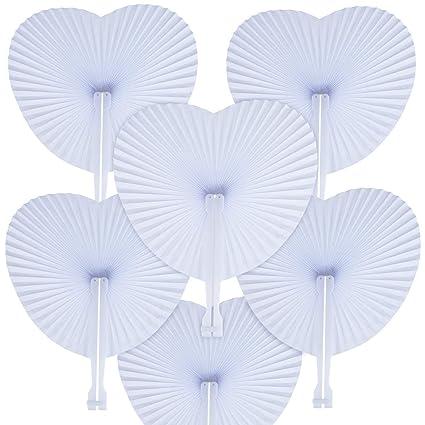 WOWOSS 60 Stück Herzförmig Handgriff Fächer Papierfächer Hochzeit Klappfächer Handfächer Weiß Hochzeit,Faltbar Fächer für Hoc