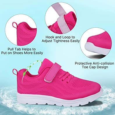 WONZOM FASHION Kids Casual Lightweight Breathable Running Floral Sneakers Easy Walk Sport Shoes for Boys Girls