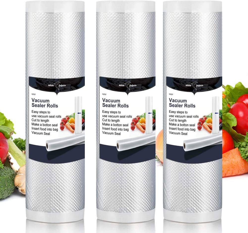 """Vacuum Sealer Bags Rolls White Dolphin, 8"""" x 197"""" inches Food Saver 3 Rolls Sous Vide Cooking Commercial Grade Bag"""