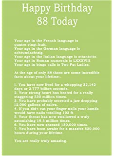 Age 88 Body Facts Birthday Card